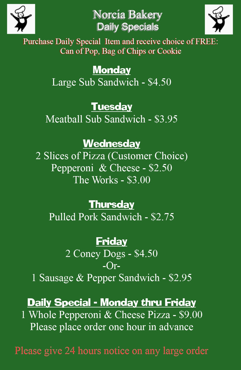 Daily Specials at Norcia Bakery