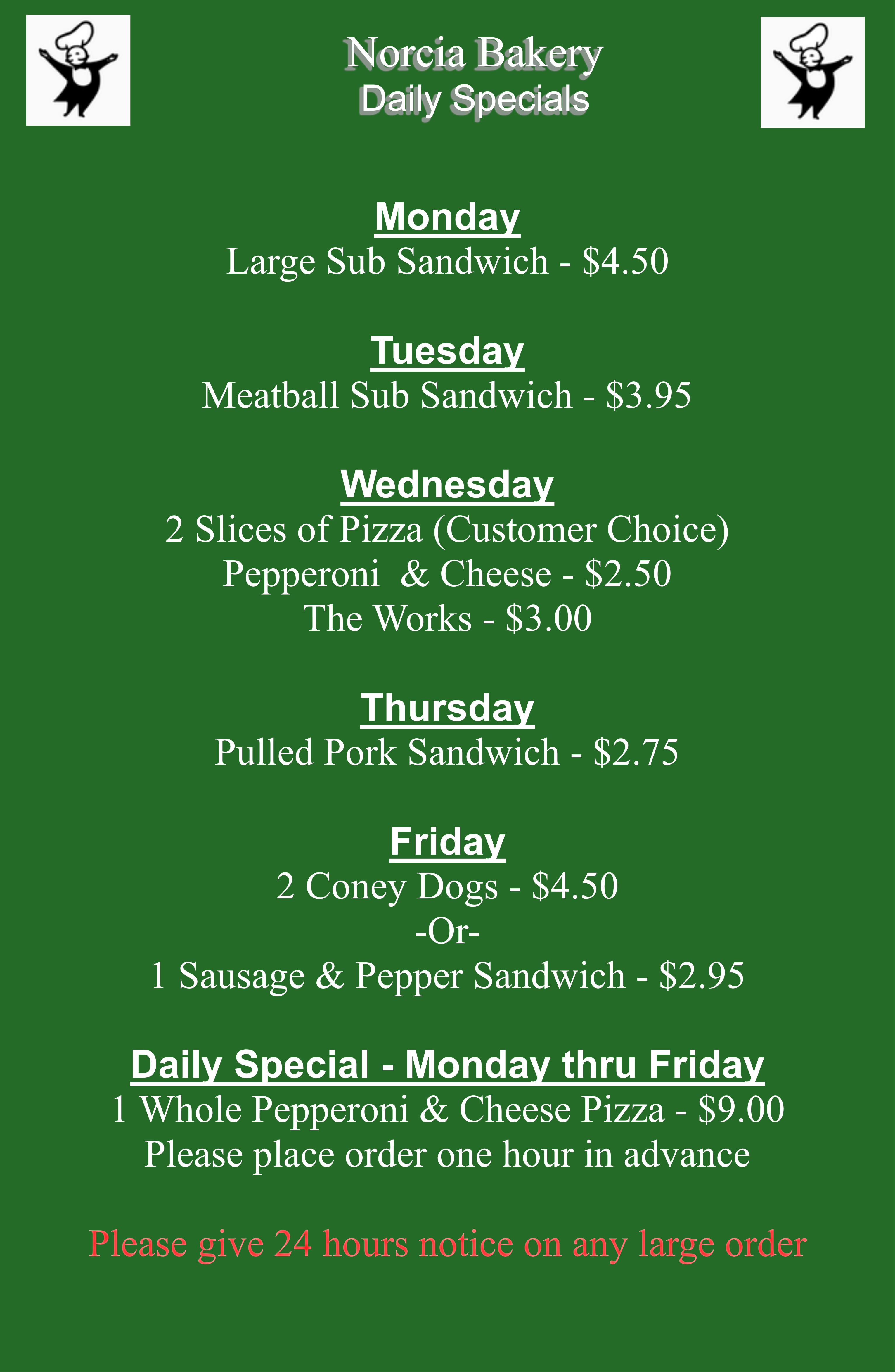 Daily Specials at Norcia Bakery Canton OH